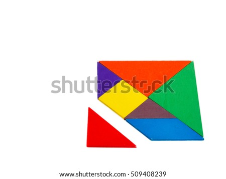 a missing piece in a square tangram puzzle colorful wooden puzzle for kid on white background