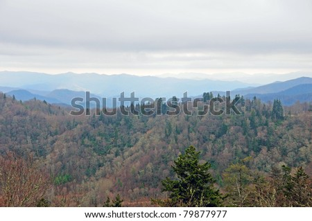 A misty day in the Great Smoky Mountains of North Carolina - stock photo