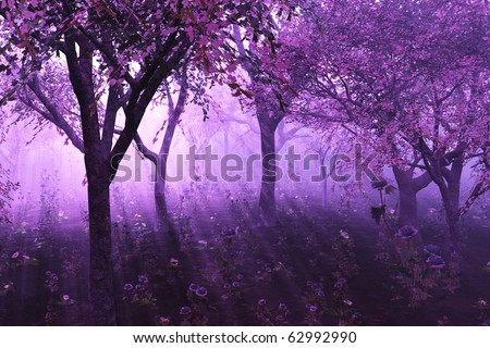 A misty morning among flowering trees - 3D render. - stock photo