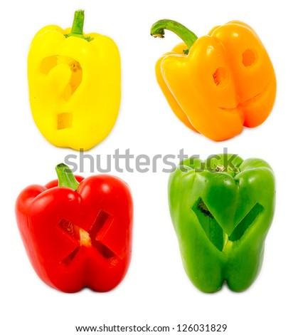 A mix of differently colored bell peppers isolated on white background. - stock photo