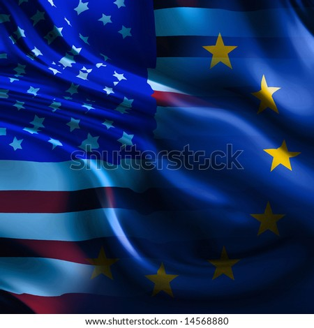 a mix of the flags of europe and america - stock photo