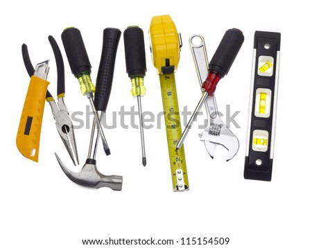 A mix of tools placed n a white background