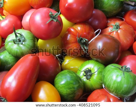 A Mix of Various Colours and Shapes of Tomatoes.