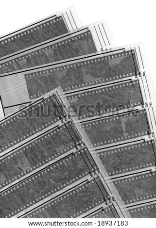 A 35mm contact sheets strip of black and white negative film with my photos. - stock photo