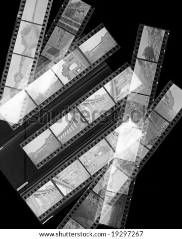A 35mm contact sheets strip of invert black and white negative film with my photos - stock photo