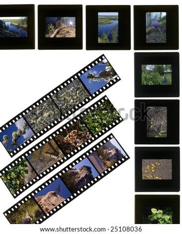 A 35mm contact sheets strip of slide film with my photos. I am the author of all the images contained in this image. - stock photo