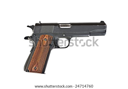 A 45 mm handgun with scratches  isolated on a white background - stock photo