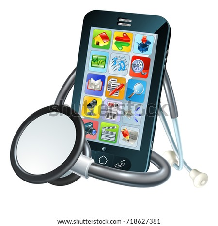 A mobile phone with stethoscope conceptual illustration for either health related apps or phone repair