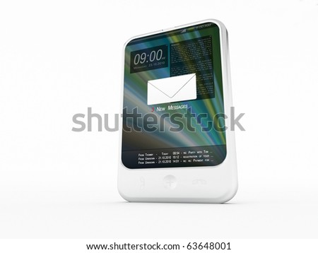 A mobilphone on a white background - stock photo