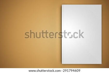 A mock-up of a close book on beige background, top view - stock photo