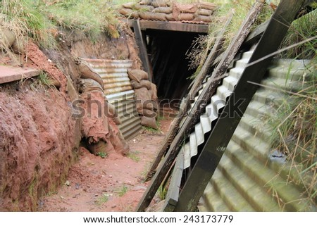 A Mock-up of a First World War Fighting Trench. - stock photo