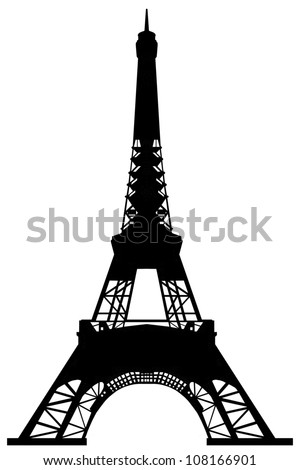 A model Eiffel tower of cardboard isolated on white.