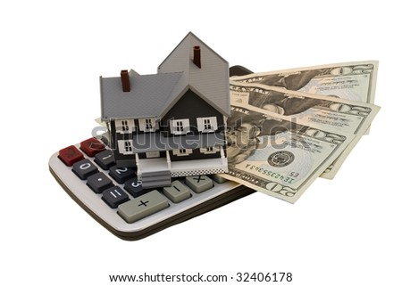 A model house with twenty dollar bills and calculator isolated on white background, housing costs