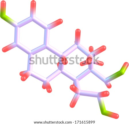 A model of an estriol molecule, one of several estrogen hormones produced by the sex glands of women. Isolated on white. - stock photo