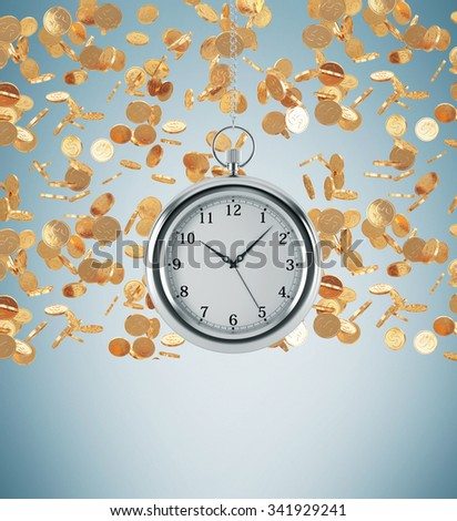 A model of pocket watch which is hanging on the chain. Golden coins are falling down from the ceiling. A concept of a value of time in business. Light blue background. 3D rendering. - stock photo