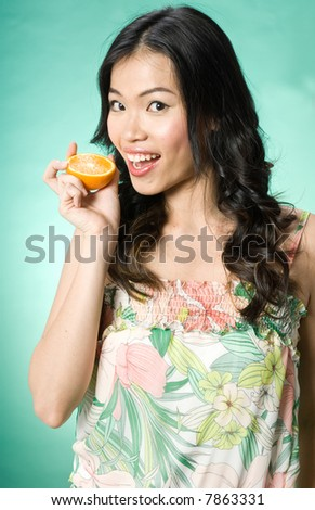 A model posing in a summer dress with an orange