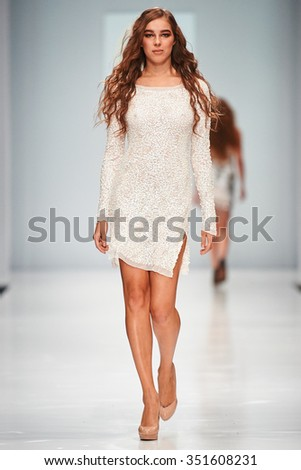 A model walks on the ALLA COUTURE catwalk. Spring/Summer 2016. FASHION WEEK in MOSCOW. 15 October 2015, Moscow, Russia.
