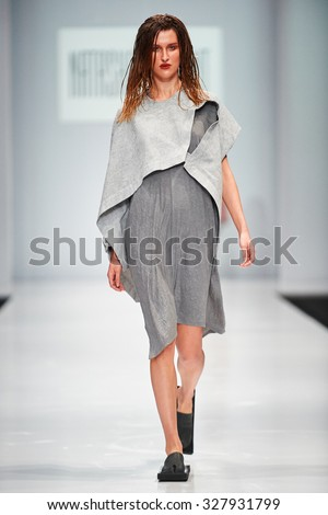A model walks on the NATASHA DRIGANT catwalk. Spring/Summer 2016. FASHION WEEK in MOSCOW. 15 October 2015, Moscow, Russia.