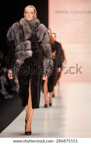 A model walks on the Petr IAKOVLEV for SAKHABULT catwalk. FALL 2015. MERCEDES-BENZ FASHION WEEK RUSSIA. 29 March 2015, Moscow, Russia.