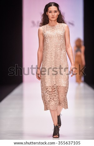 A model walks on the Vadim Merlis catwalk. Spring/Summer 2016. MERCEDES-BENZ FASHION WEEK RUSSIA. 21 October 2015, Moscow, Russia.