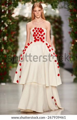A model walks on the Yulia Prokhorova Beloe Zoloto catwalk. FALL 2015. MERCEDES-BENZ FASHION WEEK RUSSIA. 28 March 2015, Moscow, Russia. - stock photo