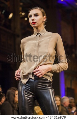 A model walks the runway at FUMO Bespoke - Art Hearts Fashion NYFW Fall/Winter 2016 at The Angel Orensanz Foundation on February 15, 2016 in New York City