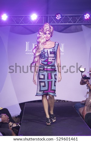 A model walks the runway for Li Jon during Art Hearts and Fashion Art Basel 2016 edition organised by Planet Fashion TV at Spectrum Miami in Miami, Florida on November 30th, 2016