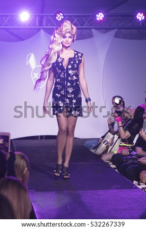 A model walks the runway Mister Triple X during Art Hearts and Fashion Art Basel 2016 edition organised by Planet Fashion TV at Spectrum Miami in Miami, Florida on November 30th, 2016