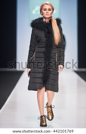 A model walks the runway on the ELEMA catwalk. Fall/Winter 2016-17. FASHION WEEK in MOSCOW. 23  March 2016, Moscow, Russia.
