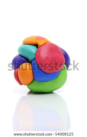 a modelling clay ball of different colors isolated on a white background - stock photo