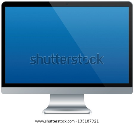 A modern aluminum computer isolated on white with a reflection - stock photo