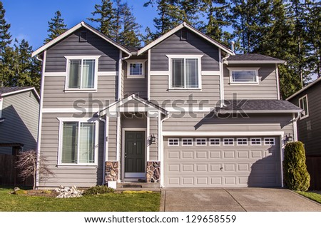 A modern American house front entrance - stock photo