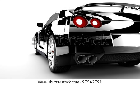 A modern and elegant black car with red lights - stock photo