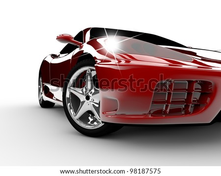 A modern and elegant red car illuminated - stock photo