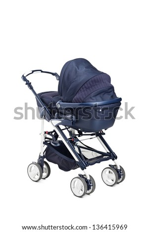 A modern baby stroller isolated against white background - stock photo