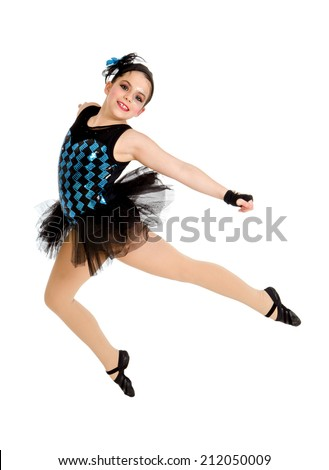 A Modern Ballet or Jazz Dancing Child Student in Recital Performance Costume - stock photo