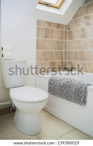 a modern bathroom in a newly converted rebuilt house
