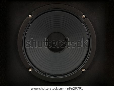 A modern black amplifier audio speaker image - stock photo