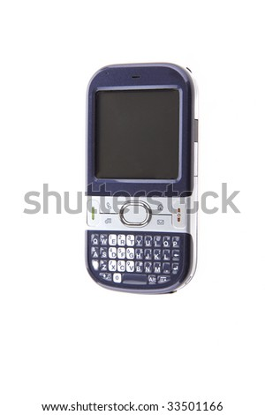 A modern black and silver pda cell phone on a white background - stock photo