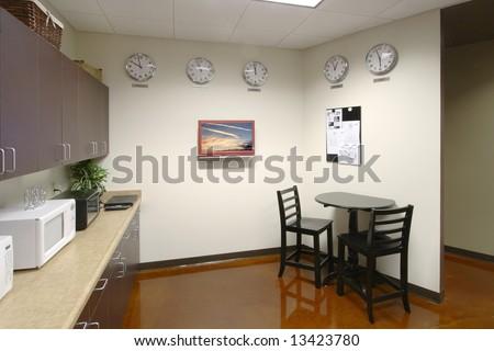A modern break room in a new office - stock photo