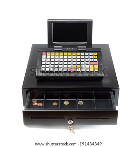 A modern cash register on a white background. Drawer is open. - stock photo