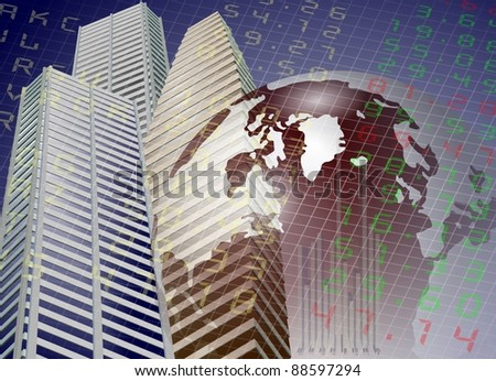 A modern city buildings with Earth and stock exchange board in the background / Global stock exchange - stock photo