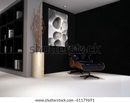 A modern classic reading chair in a study lounge painted black and grey