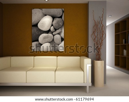 A modern classic sofa in a luxury lounge room painted brown and grey - stock photo