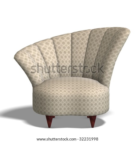 a modern comfy seat. 3D render with clipping path and shadow over white