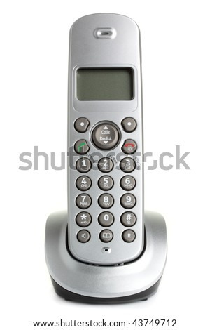 A modern, cordless home phone, isolated on a white background. - stock photo