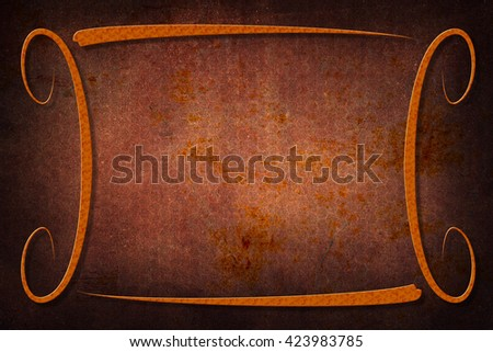 A modern decorative frame with a background with honeycomb texture. Orange, rust and brown colors