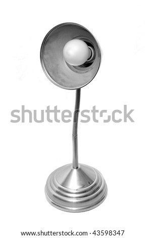 A modern desk lamp with a light bulb inside isolated on white background - stock photo