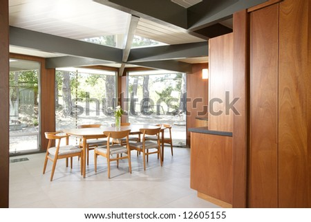 A modern dinning room that has been remodeled - stock photo