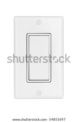 A modern electrical light switch isolated on white - stock photo